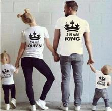 91d41dfced 2018 Summer Matching Family Tshirt Cotton Short Sleeve T-shirt King Queen  Couples T shirt Crown Printed Casual Solid Top Clothes