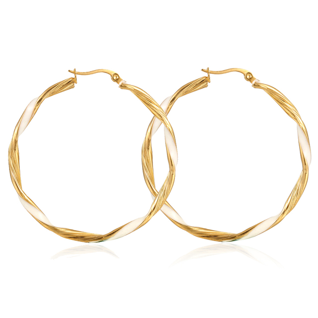 Fashion Simple Design Dubai Gold Jewelry Earring Twisted Gold Hoop Earrings For Women