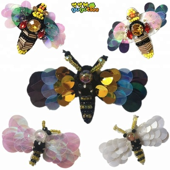 GUGUTREE handmade beaded embroidery bee patch, handmade sequins rhinestone beaded patches DIY clothing hats appliques