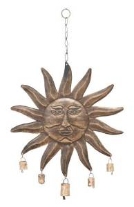 Benzara Garden Wind Chimes, Metal Sunface, 24 by 15-Inch by Benzara Woodland Imports -- DROPSHIP