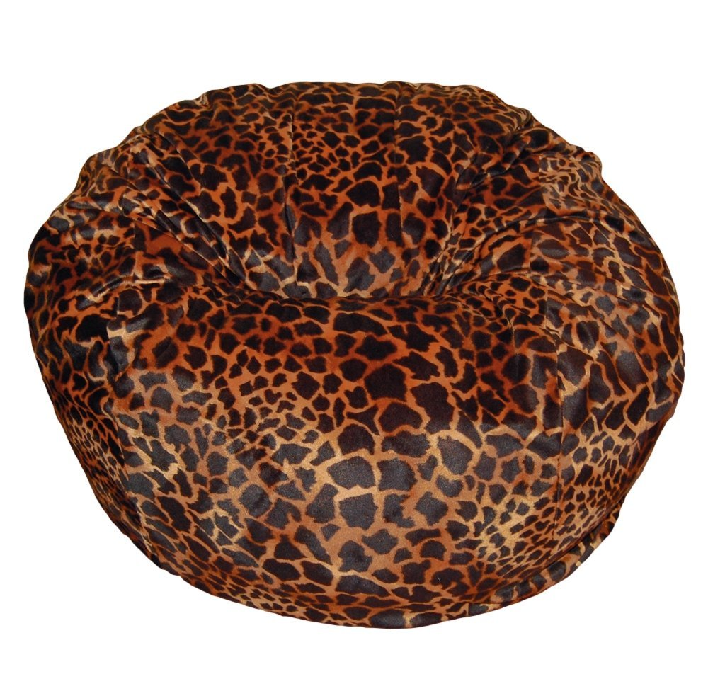Get Quotations · Ahh! Products Bronze Giraffe Animal Print Fur Washable  Large Bean Bag Chair