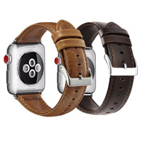 Top Quality Crazy Horse 38mm 42mm Leather Watch Strap for Apple Watch Leather Bands