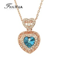 New Design 18K Rose Gold Plated Blue Big Simulated Crystal Heart Pendant Necklace