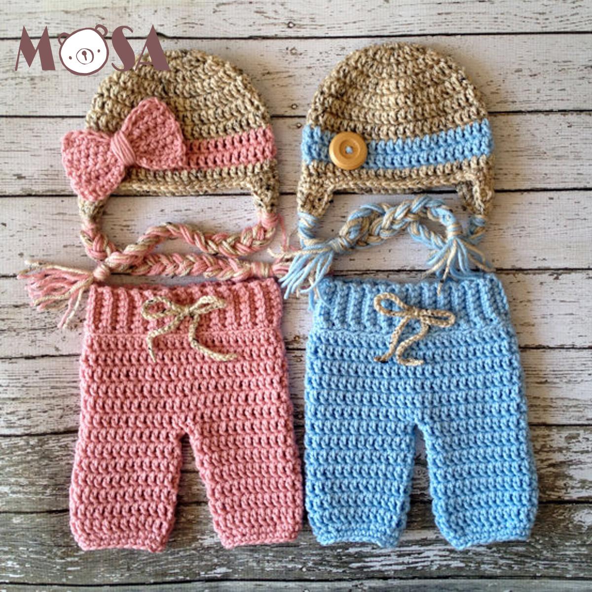 7d16b77d9c488 Mão Crochet Chapéu Recém-nascido e Calças Conjunto Rosa Azul Da Menina Recém -nascidos