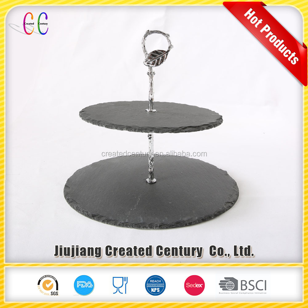 Factory supply food contact safe <strong>natural</strong> black slate food serving plate slate cake stand