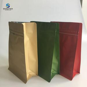 Kraft Paper Stand Up Zipper Coffee Bags flat bottom zipper pouch With Valve drip coffee sachet