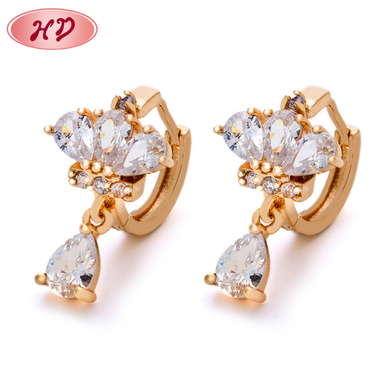 Free shipping 18k gold plated wholesale small gold earrings woman 2017 /ladies earrings designs pictures designs for party girls