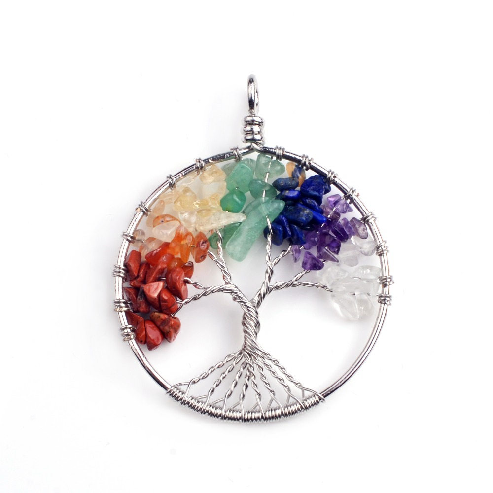 Charm 7 Chakra Stone Round Pendulum Silver Plated Tree of Life Pendant Necklace фото