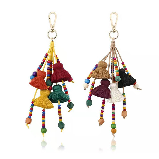 High quality boho handmade multi color fringe tassel wood beads leather keychain