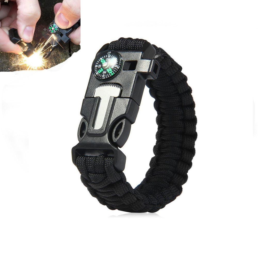 KongBo YUZEX 5 in 1 Outdoor Paracord Survival Armband met Embedded Kompas