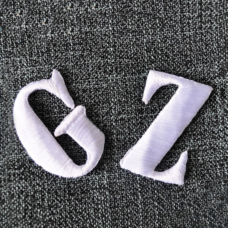 Custom 100% Embroidery Textile Letter Patches Iron on For Denim Bag/Clothing