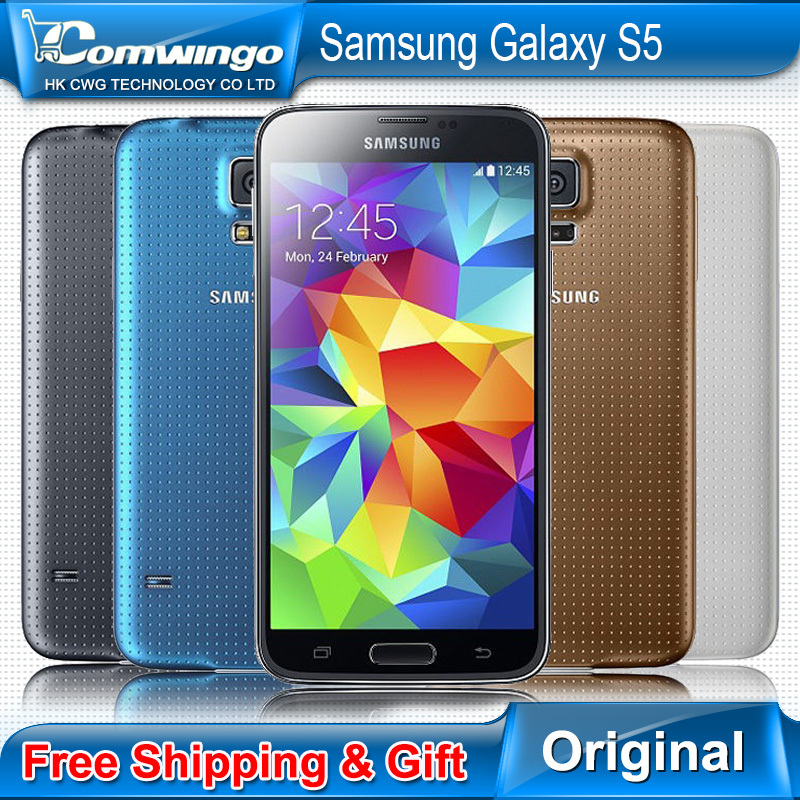 Original Unlocked Samsung Galaxy S5 i9600 LTE WCDMA 2GB RAM 16GB ROM G900F 16MP Camera Quad