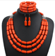 Nigerian Wedding Necklace Earring Bracelet Sets Statement Collar African Beads Indian Jewelry Set