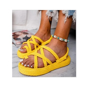 60a9669fb36d6 Wholesale Hot Sale Comfortable Monogrammed Womens Yellow PU Braided Rope  Sandal