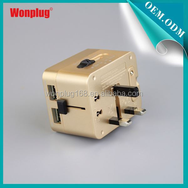 2015 Factory Hot Selling Cool Design Good Reputation International Worlwide universal travel adaptor with usb charger
