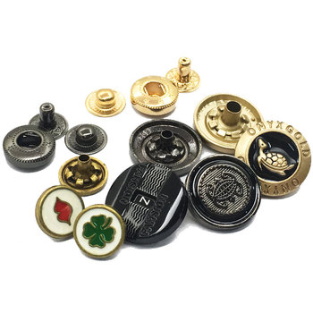 Round Shape China Factory Four Parts Gold Enamel Cover Decorative Press Metal Snap Button Custom