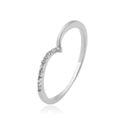 14069 Xuping classic simple O ring, 1 gram white gold finger ring small white stone wedding jewelry