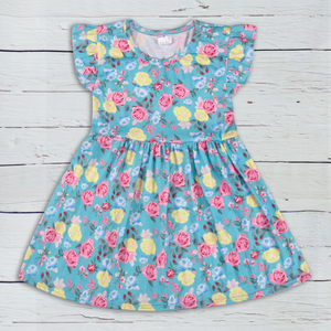 Wholesale pretty small flying sleeves floral printed girl summer dress