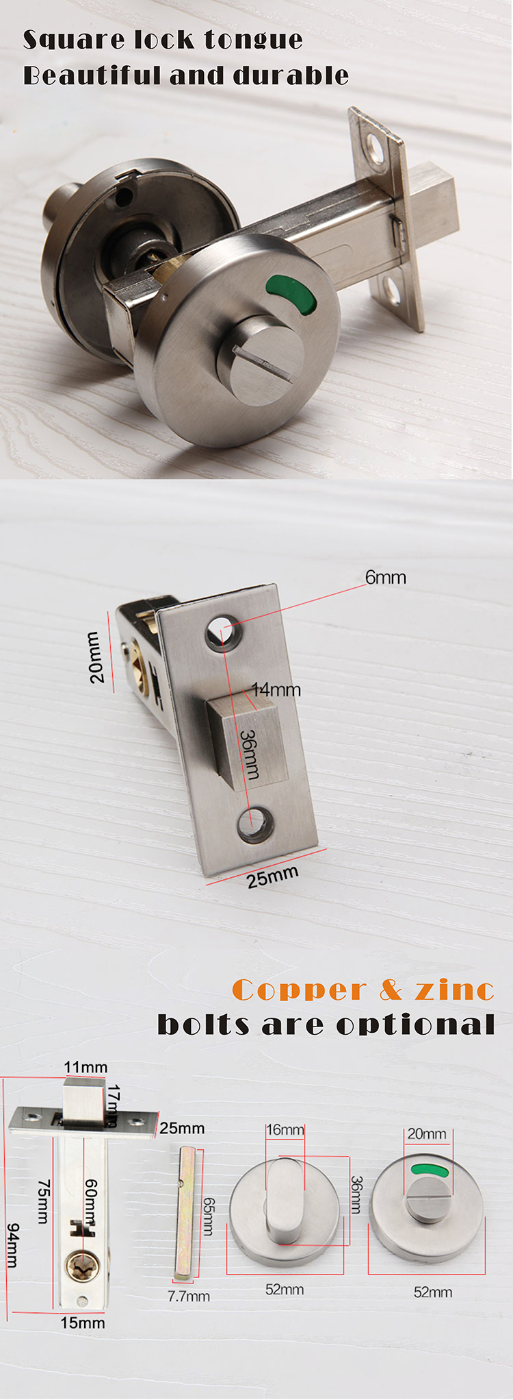Top quality stainless steel partition toilet cubicles door lock