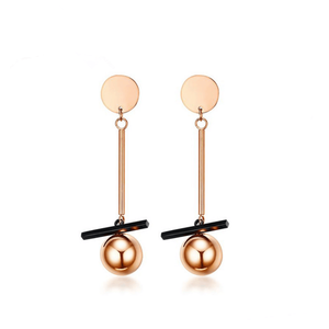 IP Rose Gold Black Plated Stainless Steel Ball Drop Earrings Women