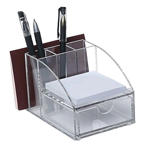 Acryl Premium Desktop-Bürobedarf Organizer w Post It 3 Pencil Slots Notizblock-Halter Mail-Speicher