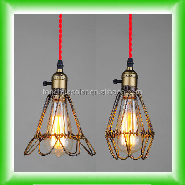 Industrial retro Edison bulb lighting bird cage guard, cage suspended lighitng