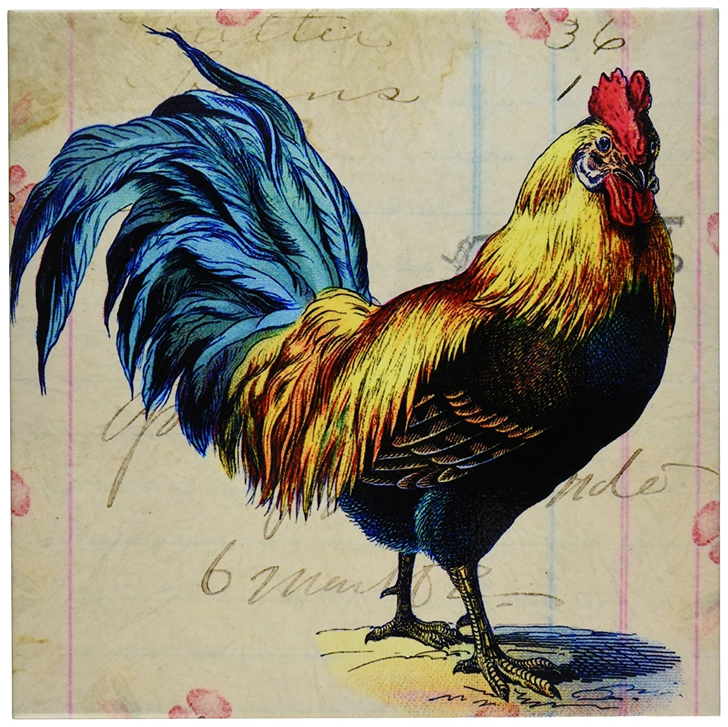 3dRose ct_108229_4 Vintage Rooster Digital Art by Angelandspot-Ceramic Tile, 12-Inch