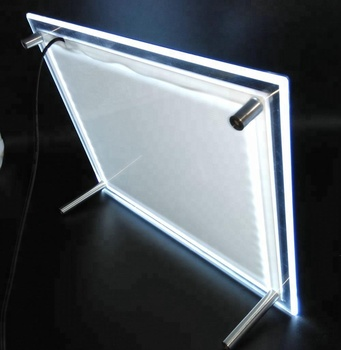 A4 acrylic led menu holder with led light background supplied by 12v adapter