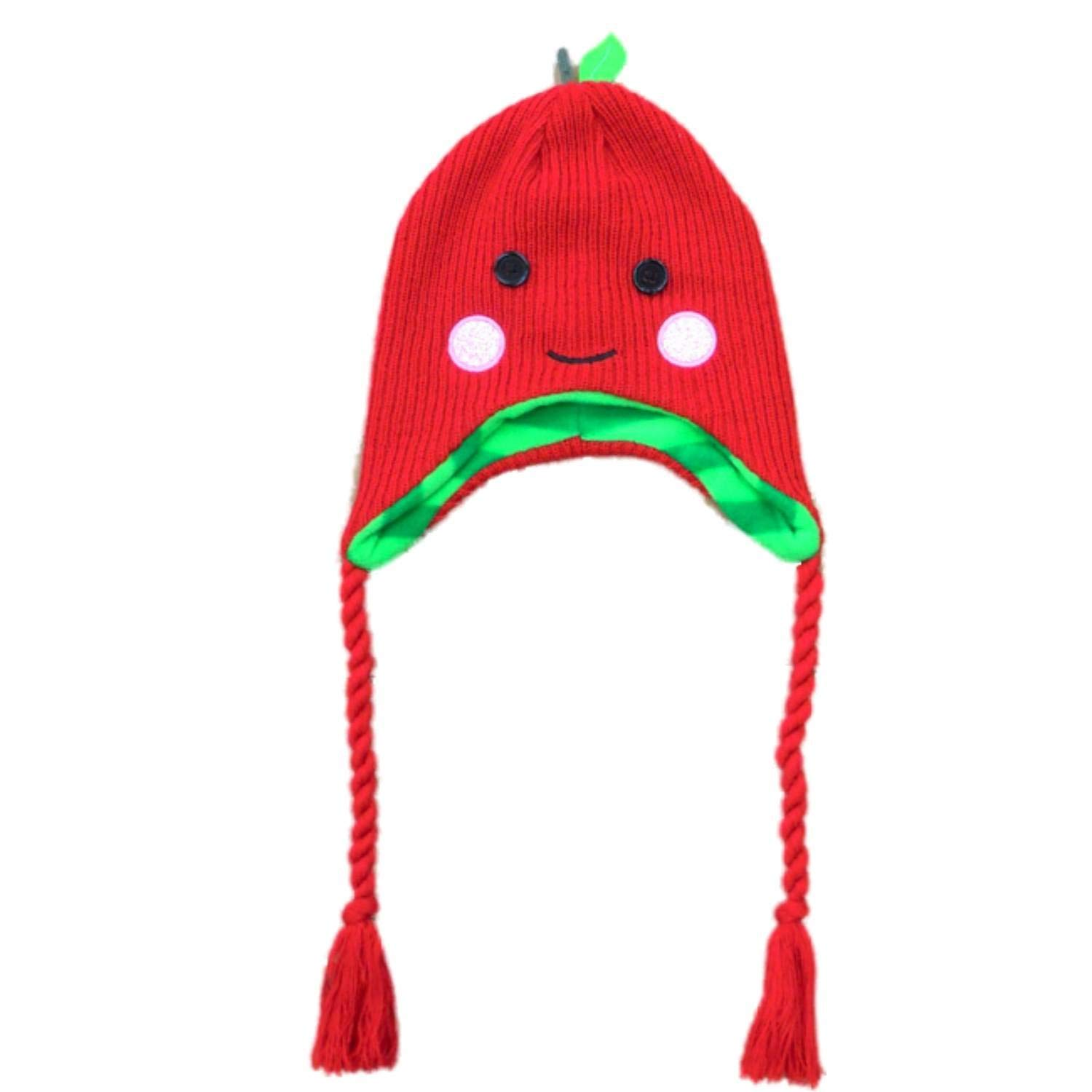 4da52f276ab Get Quotations · Womens Red Knit Strawberry Peruvian Style Trapper Hat  Fleece Lined