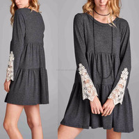 High Quality Women Fashion Long Sleeve Lightweight Fabric Charcoal Crochet-Sleeve Vintage Swing Dress