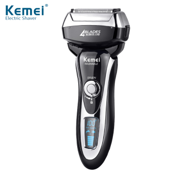 Kemei KM5568 2017 Fashion Magnetic Levitation Razor with LCD Display Four Blade Reciprocating Men's Shaver
