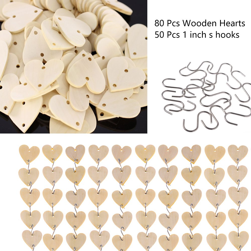 Supla 80 Pcs Unfinished Solid Wood Hearts with 2 holes and 50 pcs s hook 1 inch ,Birthday Board Tags Hearts Wooden calendar