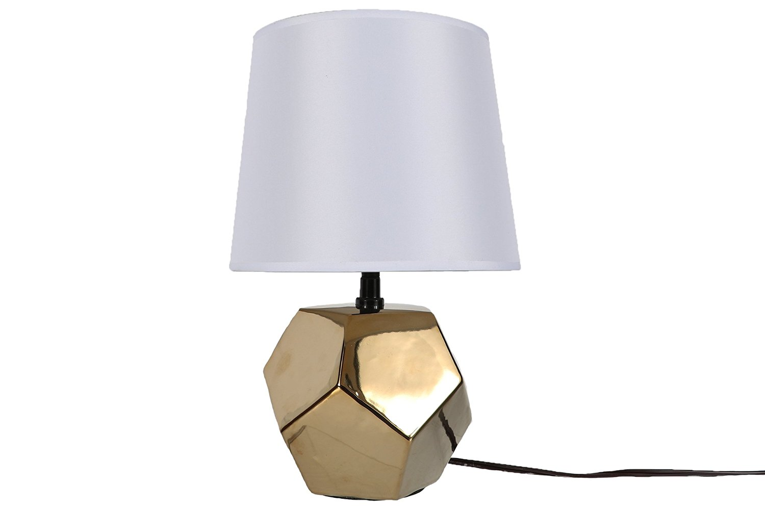 DEI Gold Faceted Diamond Base Lamp Round