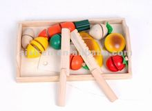 Food and fruit cutting wooden games toy