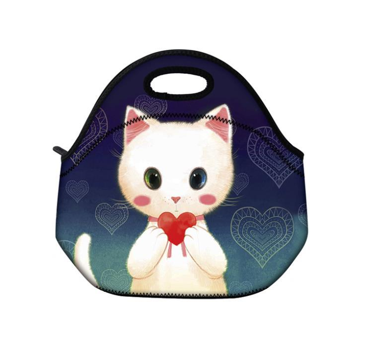 b07504fe58 Get Quotations · Cute Cat neoprene Lunch Bag Tote insulated Women's Handbag  Food Container Waterproof Thermal picnic travel outdoor