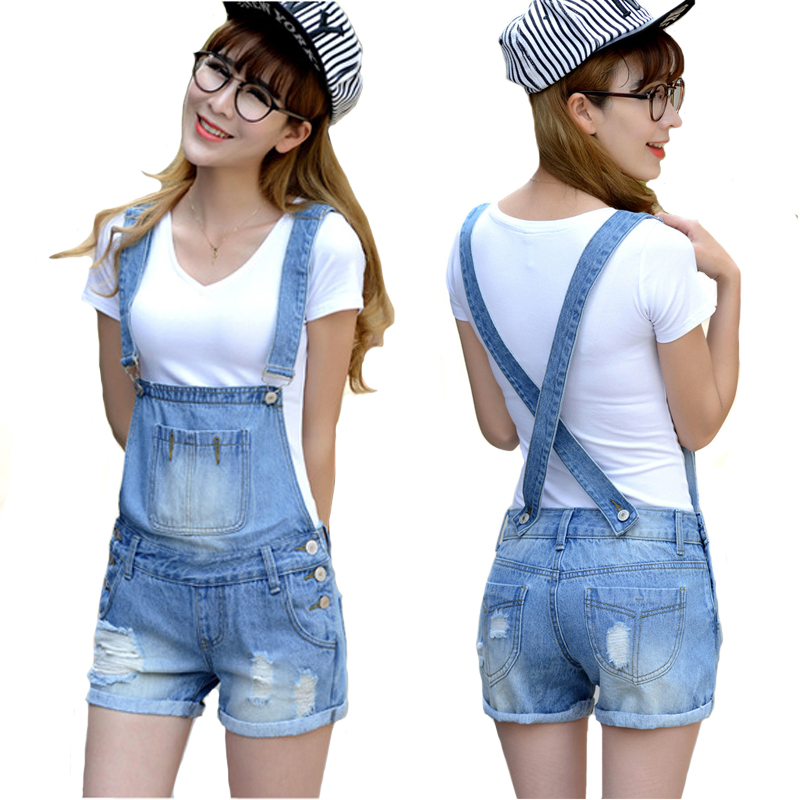 b0e9febd9787 Get Quotations · Distressed Washed Hole Denim Jumpsuit Romper For Women  Denim Coverall Playsuit Short Jeans Female Jeans Overalls