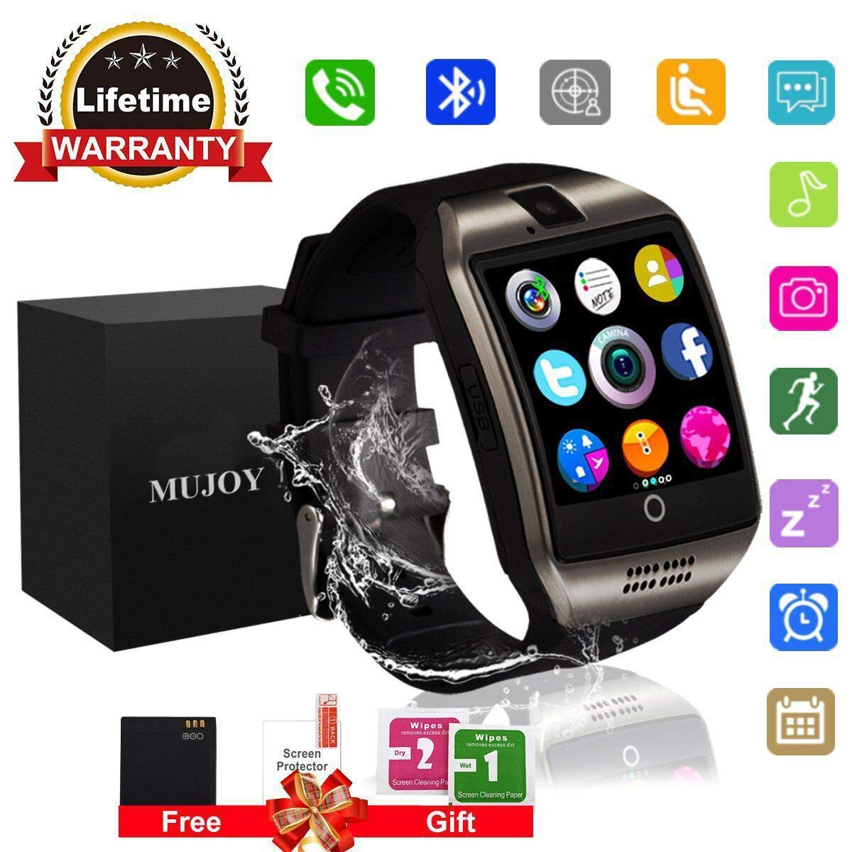 MUJOY Smart Watch for Android Phones, Bluetooth Smartwatch Touchscreen with Camera, Smart Watches Waterproof Smart Wrist Watch Phone