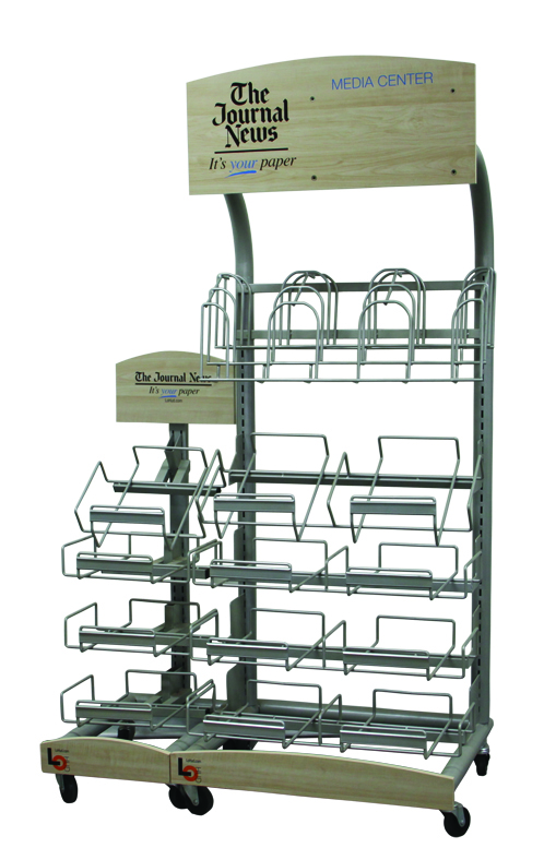 Movable Printed Logo Metal Floorstanding Journal Retail Literature Information Newspaper Display Rack