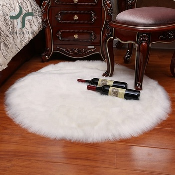 Home Decor Bedroom Round Rug Custom Fake Fur Fabric Floor Mat