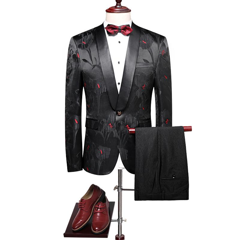 1eab606ec Flores al por mayor Jacquard chal solapa 2 unidades trajes de boda señores vestido  trajes para