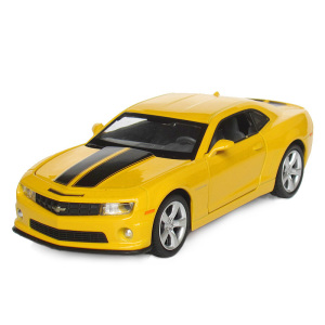 Diecast toy vehicles Chevrolet Camaro alloy model car toys 1:32 scale sound and light pull back toy car