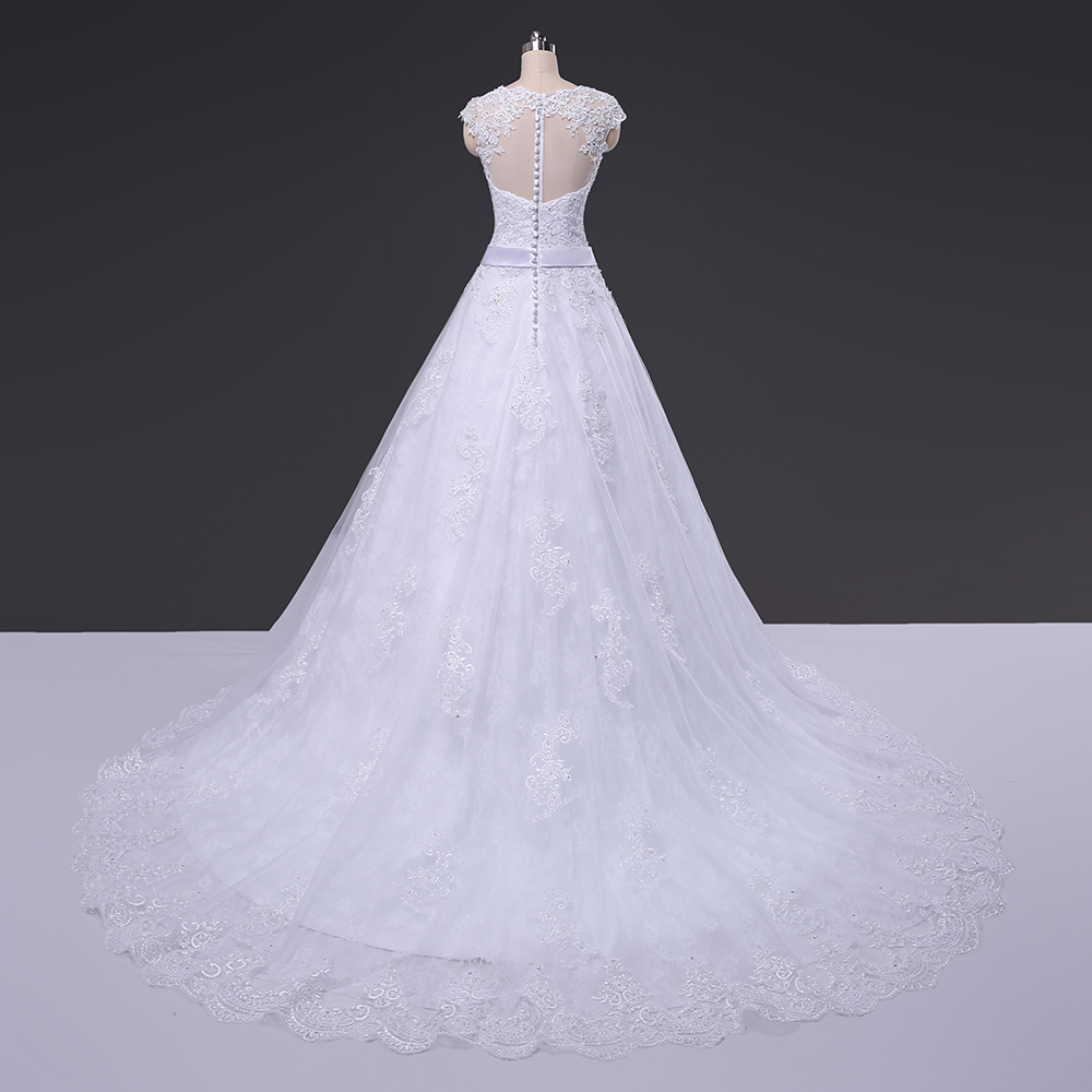 See Through Back Lace Ball Gown Wedding Dress