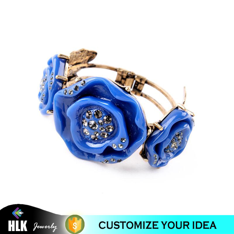 gold jewellery rhinestone blue rose flower acrylic bangle