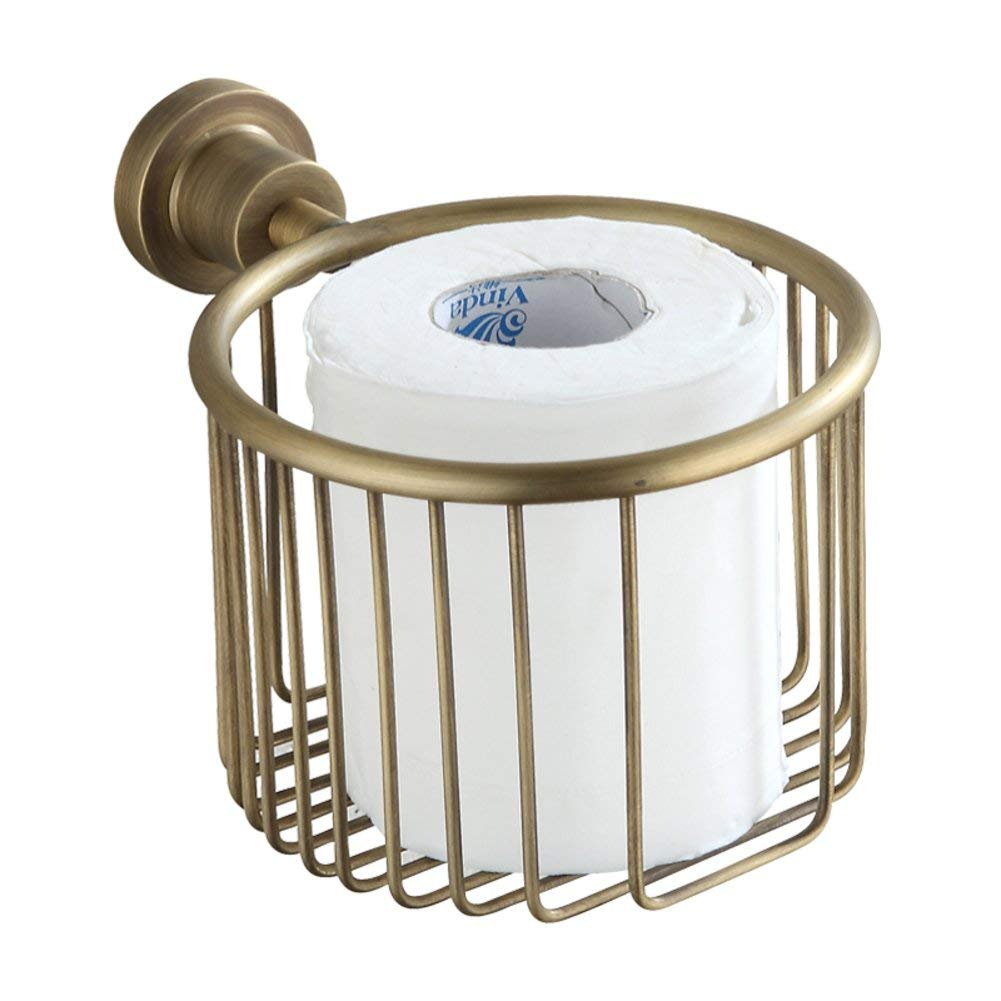 Adhesive Toilet Paper Holder,Paste Toilet Paper Holder,Paper Towel Dispenser Bronze Paper Towel Holder with a modele Antique Toilet Tray Tissue-Paper Basket-A 12x14cm(5x6inch)