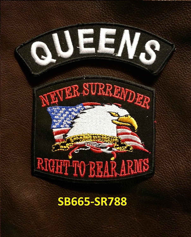 QUEENS and NEVER SURRENDER Small Badges Set for Biker Vest