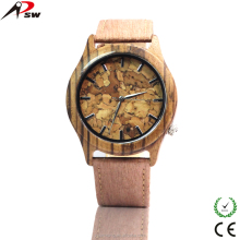 Promotion Zebra Wood Mens Vintage Watch Leather Bracelet New Arrived Wood Watch