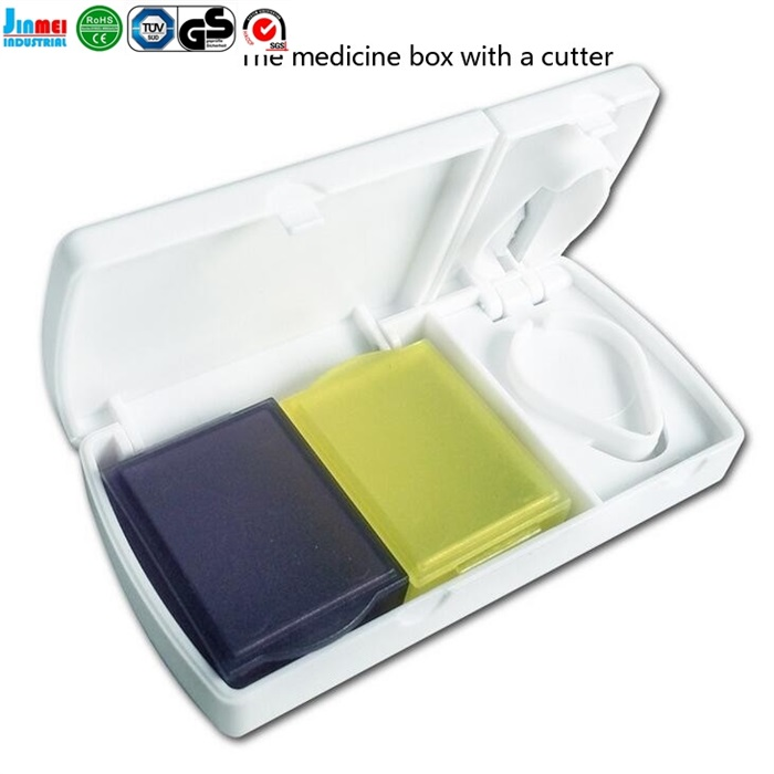Best selling products plastic pill box with cutter customized logo for wholesale price