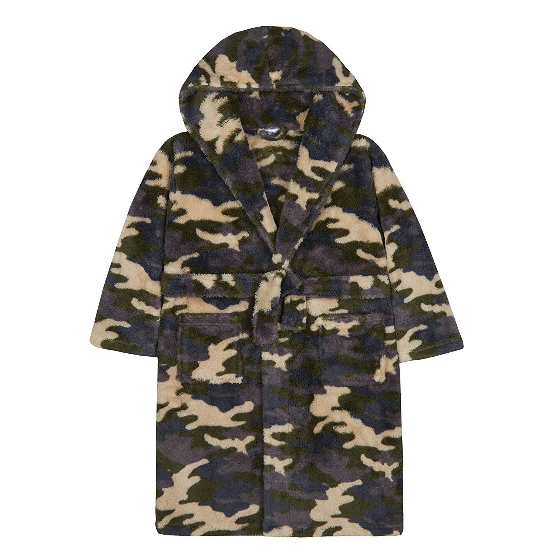 Get Quotations · 4Kidz Boys Camo Plush Fleece Dressing Gown with Hood f2fd2150c