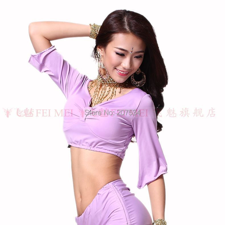 94300df5f0 Get Quotations · Special price 10 Colors Belly dancing top clothes milk  silk long-sleeve top belt pad