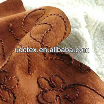Polyester Fabric Weft Suede with Embroidery